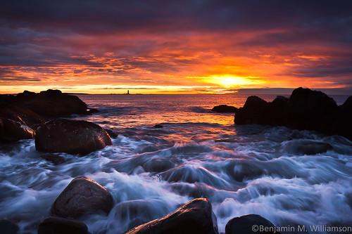 ocean park lighthouse seascape sunrise coast maine rocky capeelizabeth fortwilliams ramislandledge