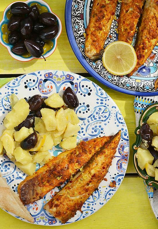 grill mackerel with potapos salad.7