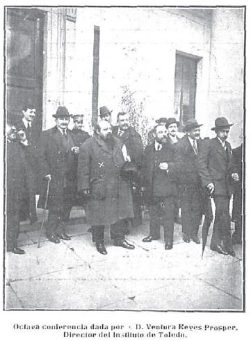 Ventura Reyes Prósper con representantes de la Junta Organizadora del III Centenario del Greco