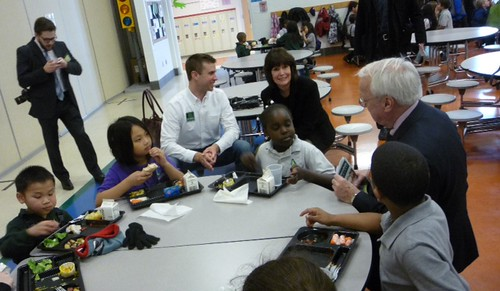 Congresswoman Betty McCollum, a long-time supporter of Farm to School, joins Under Secretary Concannon and St. Paul students. The Congresswoman co-hosted the visit with St. Paul Schools Nutrition Director Jean Ronnei.