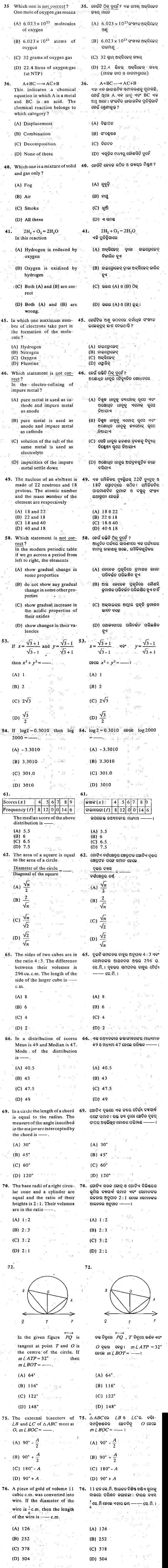 Odisha DET 2010 Question Paper - Diploma in Engineering
