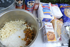 Mixing the Sur ingredients for scent offering, Tibetan Buddhist Aroma Offering, for scent beings, a mix of lovely white foods in crumbly powder form, white chocolate, white raisins, coconut, Seattle, Washington, USA