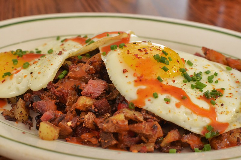 Mmm... pastrami hash with eggs up