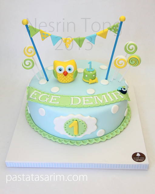 little owl first birthday cake