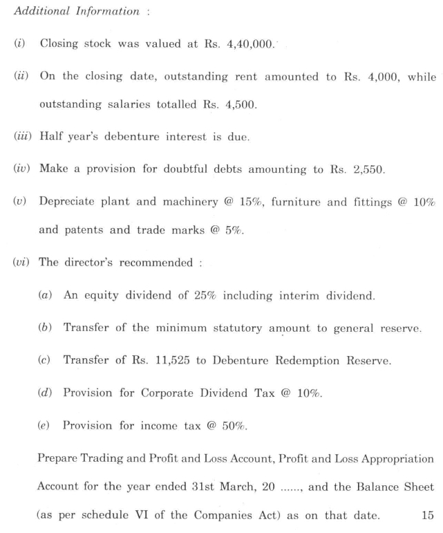 DU SOL B.Com. Programme Question Paper - Corporate Accounting - Paper VII