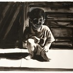 Crouching child; charcoal, 22 x 30 in, 1994