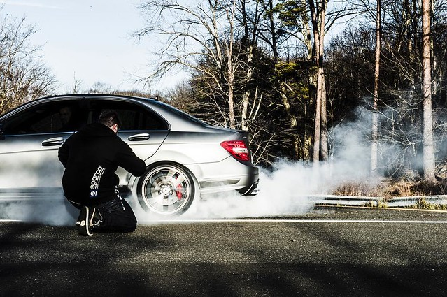 burn baby burn! what a trip that was. the first big one for @mercedesbenz with @marioroman_pictures @andrewlink @photojoseph @rvt3 #burnout #c63 #🚗💨 #🚀 # #precisiondriving #silverarrow #🙌 #📷 #amg funny how I've neve