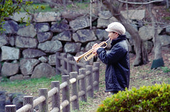 Trumpet player, Akashi Castle, Feb. 2013