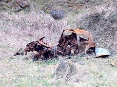 The remains of a Renault Megane