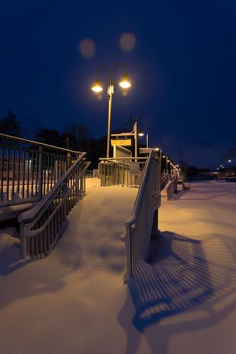 morning winter snow newyork storm stairs sunrise town twilight shadows village nemo steps platform longisland trainstation february blizzard lirr locustvalley longislandrailroad 2013