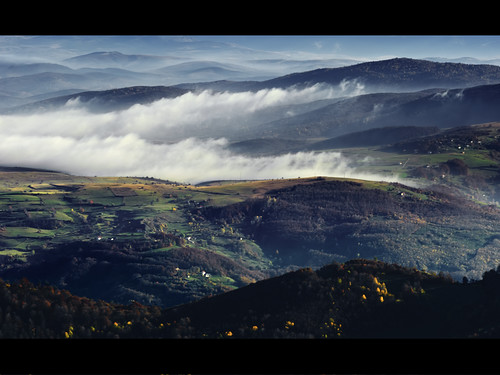 blue autumn light red sunlight white mist mountain nature beauty weather yellow fog clouds rural landscape nikon scenery colorful europe shadows village view plateau serbia hills highland vista pastures vastness wildness golija pester mountainmassif