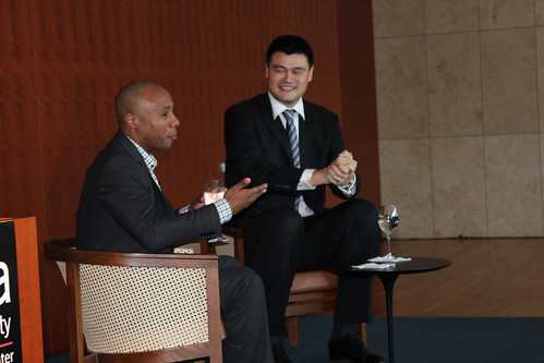 February 15th, 2013 - Yao Ming has some laughs with Jay Williams at The Asia Society of Texas in Houston