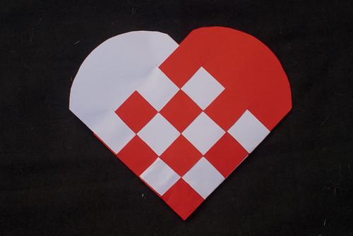 Woven cardboard heart