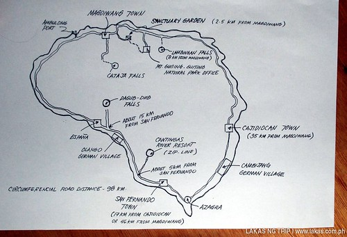Map of the different Tourist Destinations of Sibuyan Island