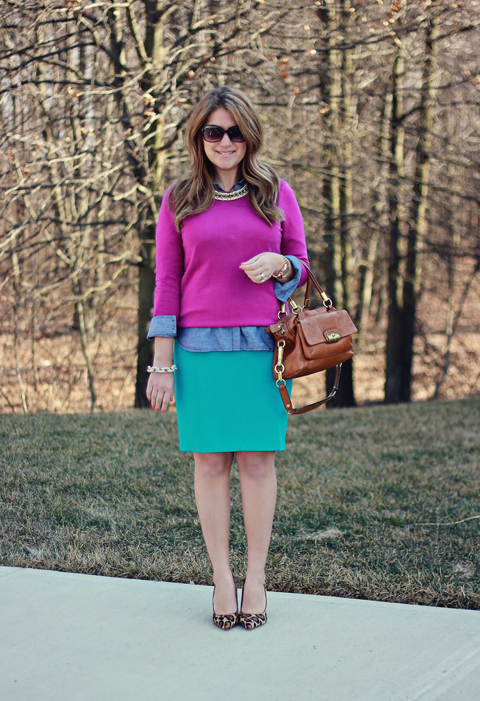 Colorblocked leopard: purple, teal, and leopard pumps work outfit