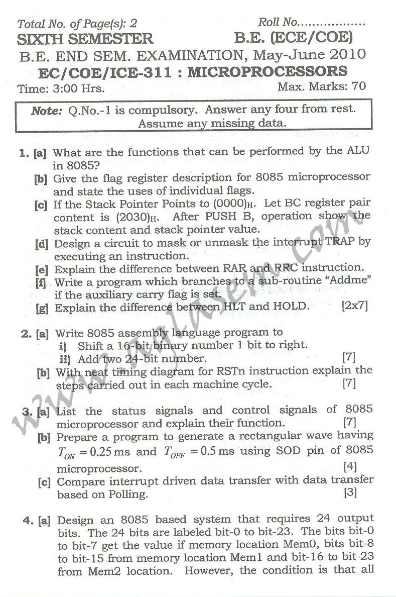NSIT: Question Papers 2010 – 6 Semester - End Sem - EC-COE-ICE-311