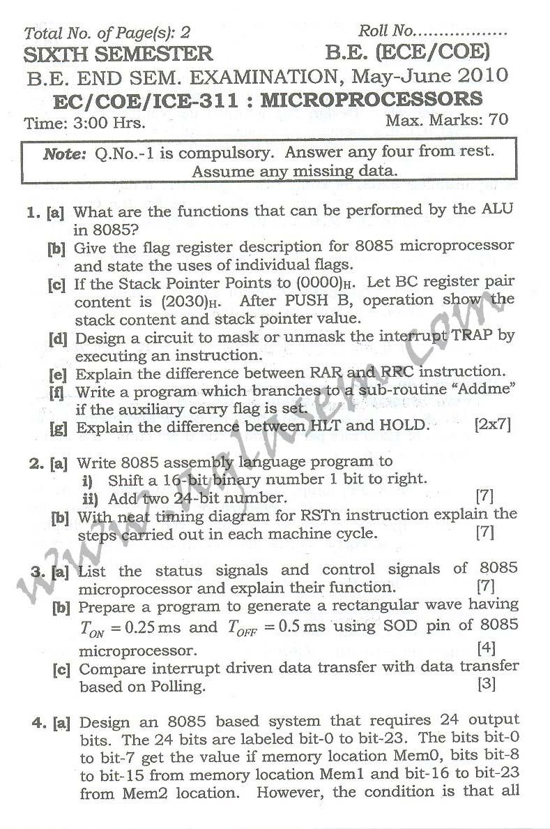 NSIT: Question Papers 2010 – 6 Semester - End Sem - EC-COE-ICE-311