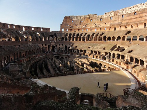 Wide view of the Colosseum Amphitheatre in Rome