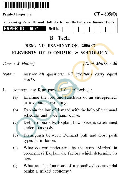UPTU B.Tech Question Papers - CT-605(O) - Elements of Economic & Sociology