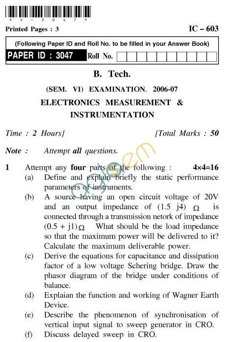 UPTU B.Tech Question Papers - IC-603-Electronics Measurement & Instrumentation