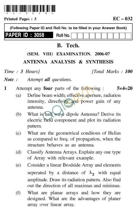 UPTU B.Tech Question Papers - EC-032-Antenna Analysis & Synthesis