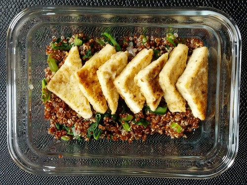 Red Quinoa and Yukina Savoy with Fried Tofu Triangles