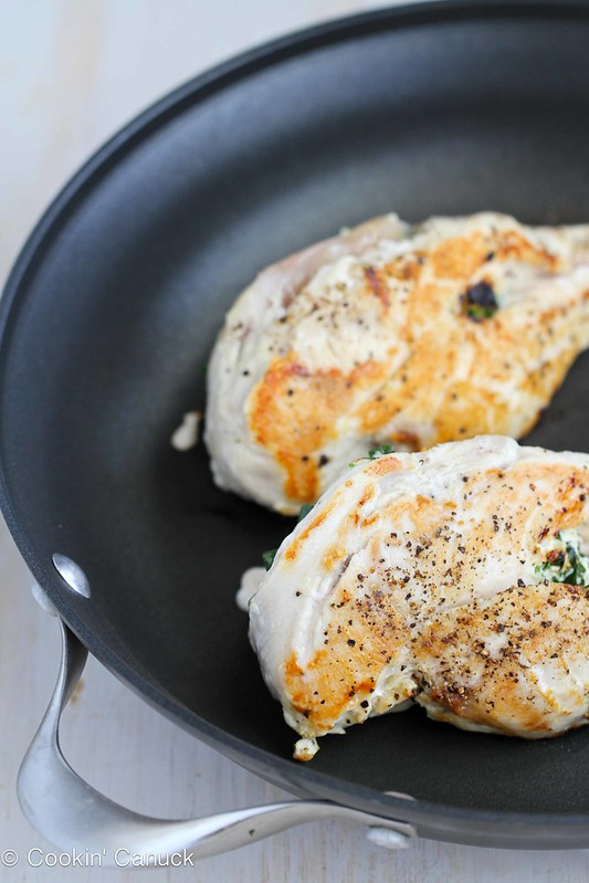 Stuffed Chicken Breast Recipe with Goat Cheese, Sun-Dried Tomatoes & Spinach #recipe #chicken
