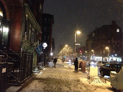 Snowy Boston, at night