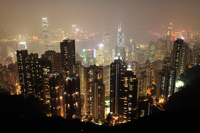 Hong Kong skyline by night