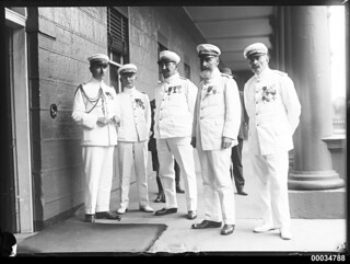 French Naval officers at the entrance to Parliament House in Sydney