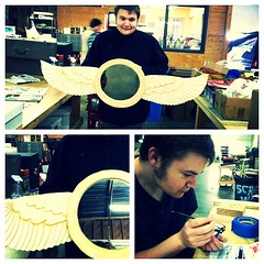 Connor is finished with his angelwing mirror !!! Now he's getting started on his new project - putting together a model BatBoat.