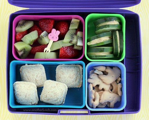 "Laptop Lunches Kindergarten lunch with sandwich ""ravioli"", cucumbers & hummus, fruit"