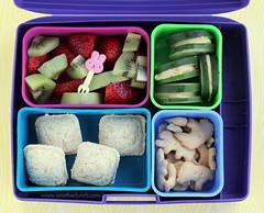 "Laptop Lunches Kindergarten lunch with sandwich ""ravioli"", cucumbers & hummus, fruit"