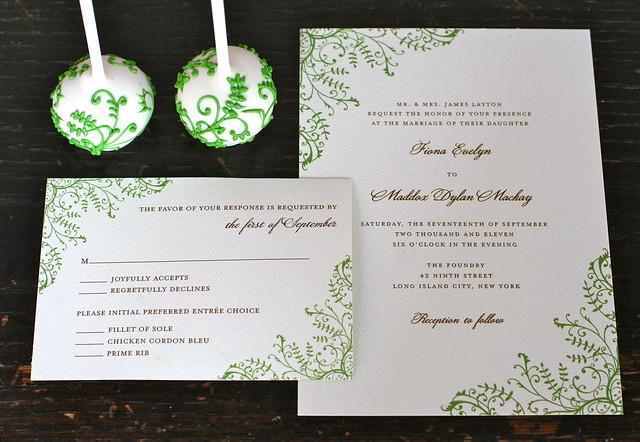Green Vine Piped Cake Pops to Match Wedding Paper Divas' Beautiful Wedding Invitations