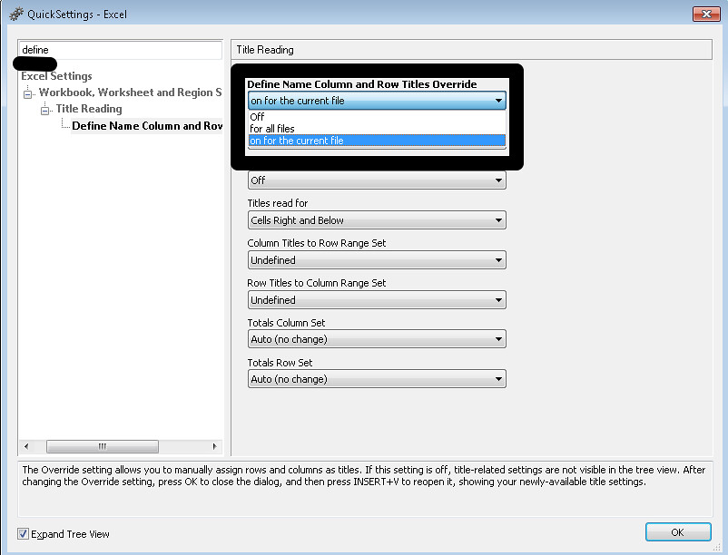Image of JAWS Quick Setting - Excel dialog box with the define name column and row title override option highlighted