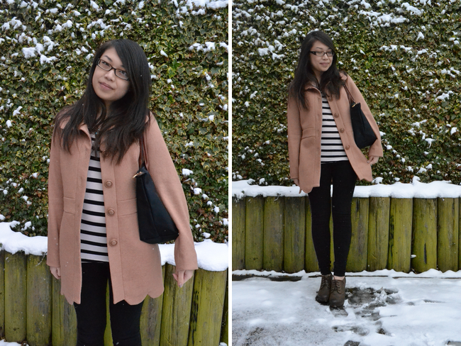 daisybutter - UK Style and Fashion Blog: what i wore, ootd, fashion blogger, SS13, classic breton stripe, longchamp le pliage, scallop edge coat