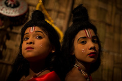 little monks getting ready  in a performance of the Hindu epic the Ramayana