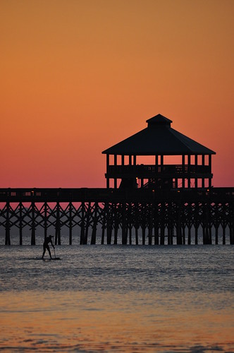 ocean sunset sun beach sunrise pier south charleston carolina folly