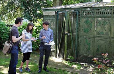 Rosie Fairchild (Splash and Ripple) with scriptwriter David Varela (left) and Holburne Museum Director, Xa Sturgis (right) getting to grips with some fieldwork in the Gardens