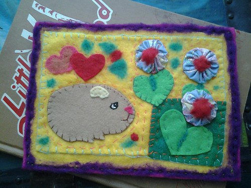 Guinea pig art quilt by Emilyannamarie