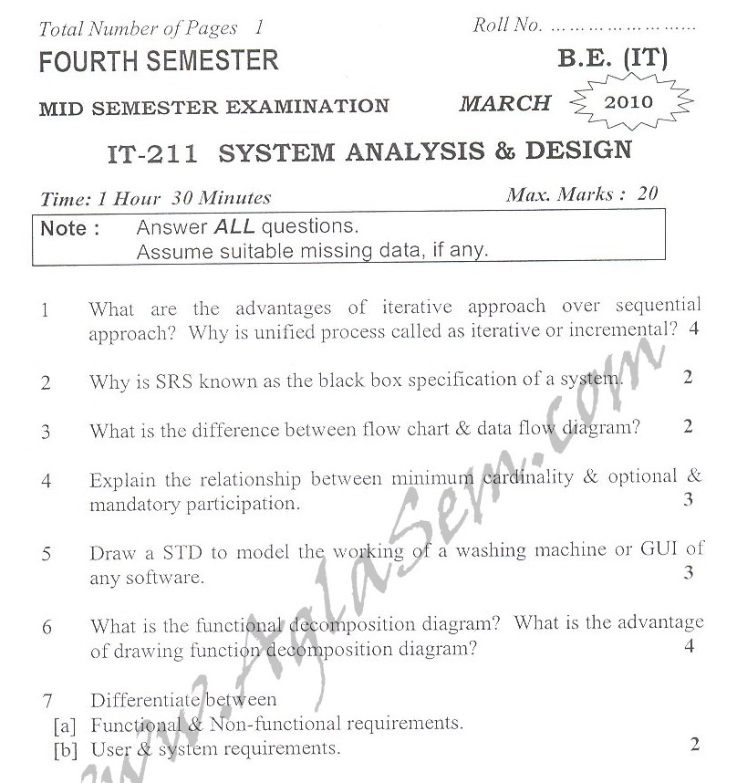 DTU Question Papers 2010 – 4 Semester - Mid Sem - IT-211