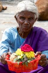 Flower seller at Chamundeswari temple