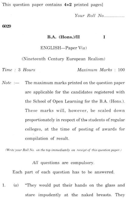 DU SOL B.A. (Hons.) ENG Question Paper -  Ineteenth Century European Relaism -  Paper V(A)