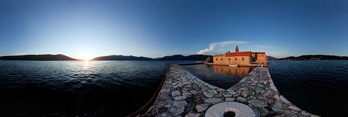 montenegro more manastir gospa skrpjela lady mercy monastery crnagora crkva adriatic adriaticsea island sunset sun summer sumrak sunce tivat church sea seascape seaside vr 360 panorama panoramic equirectangular