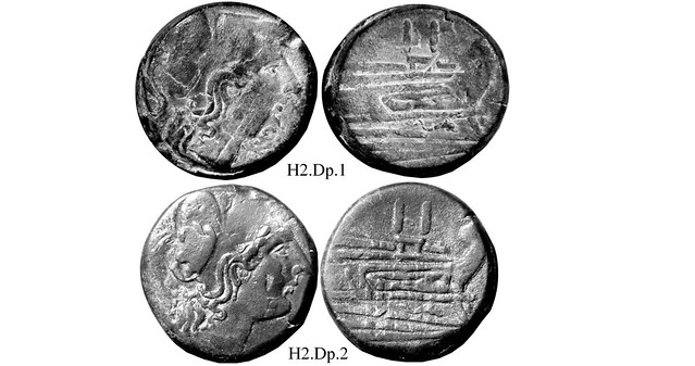 H2 Roman Republican Anonymous struck bronzes McCabe group H2, RRC56 Dupondius RRC 56/1, half weight overstrikes on 40g Asses.
