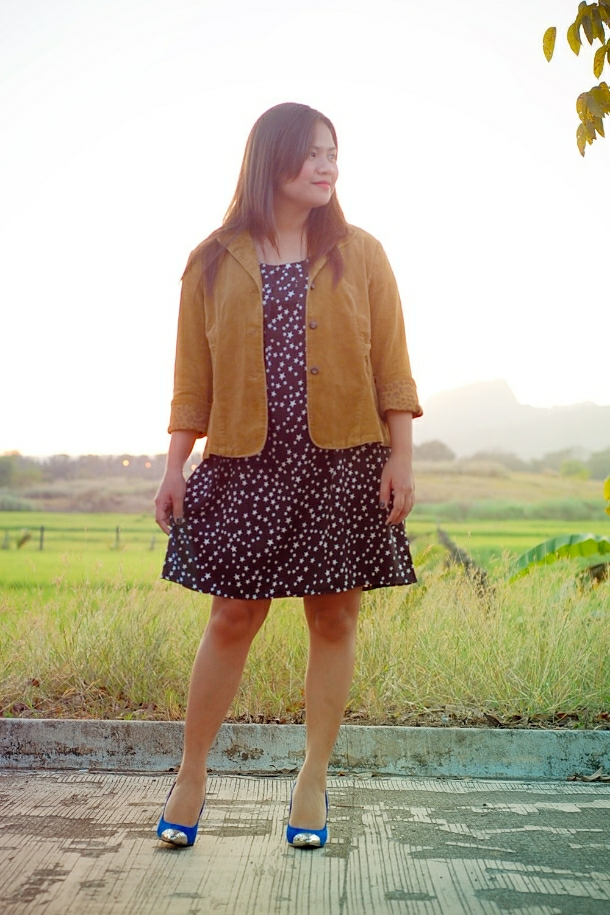 cap toe and back heels + thrift jacket and star dress