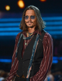 Johnny Depp in dark shades at the 55th Annual Grammy Awards