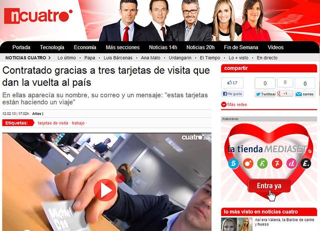 Artículo en la web - Noticias Cuatro (12.02.2013) - castellano