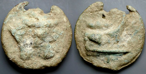HNI-359 Aes Grave Semis. Bull-Prow series Bull head; Prow, first Punic war commemorative. AM#1301-124 55mm 124g
