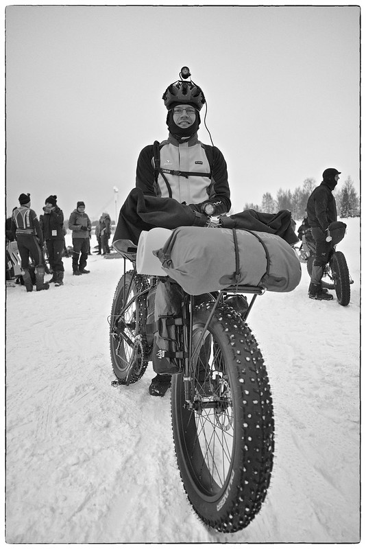Toni Lund and fatbike, at Rovaniemi 150